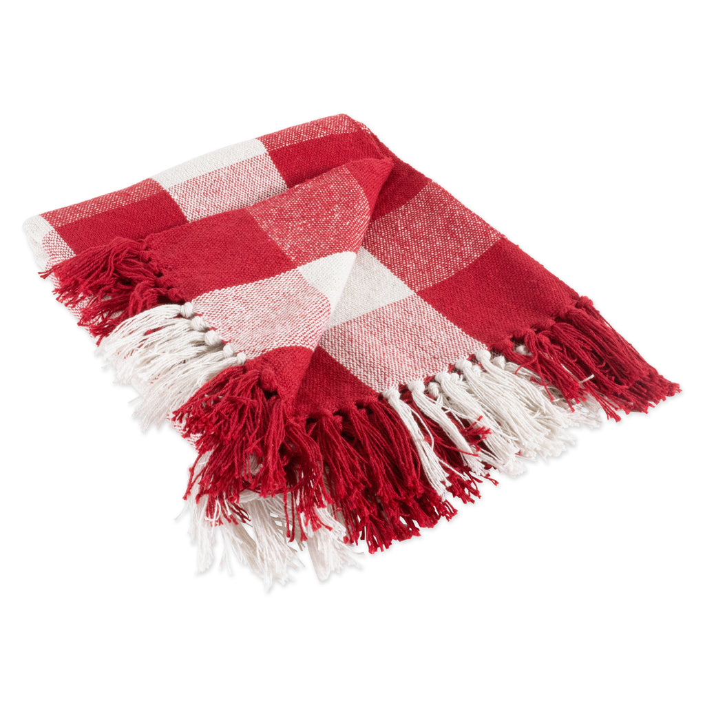 Red & White Buffalo Check Throw