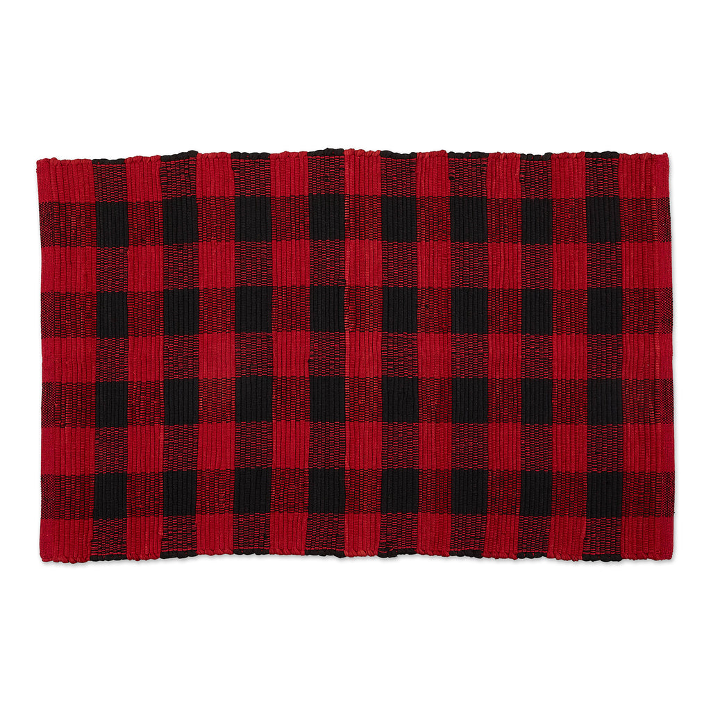 Red & Black Buffalo Check Rag Rug 26x40 Cm