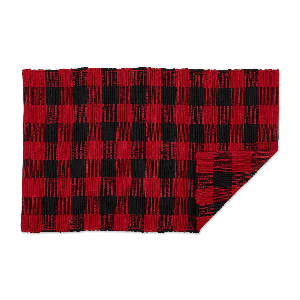 DII Red & Black Buffalo Check Rag Rug