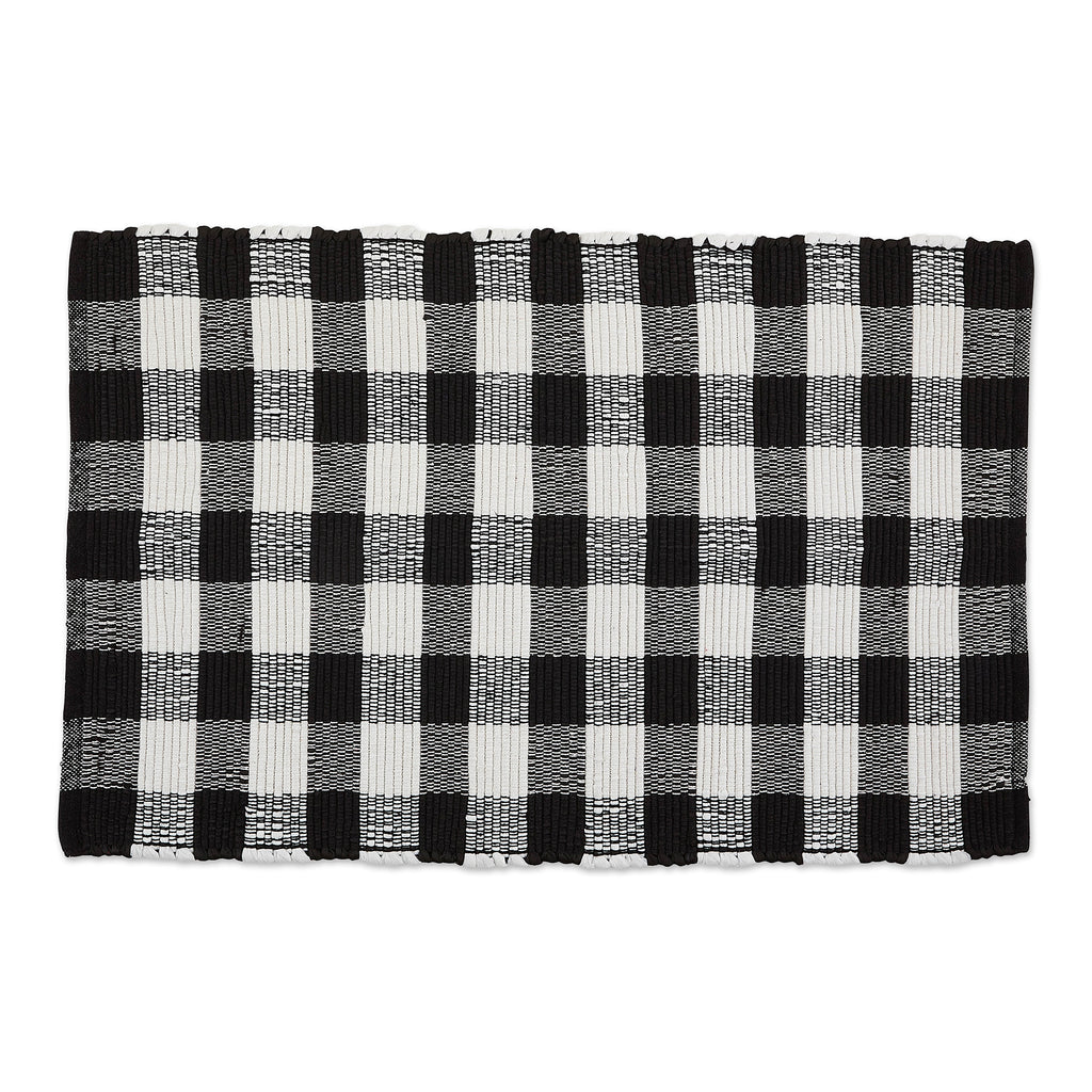 Black & White Buffalo Check Rag Rug 26x40 Cm
