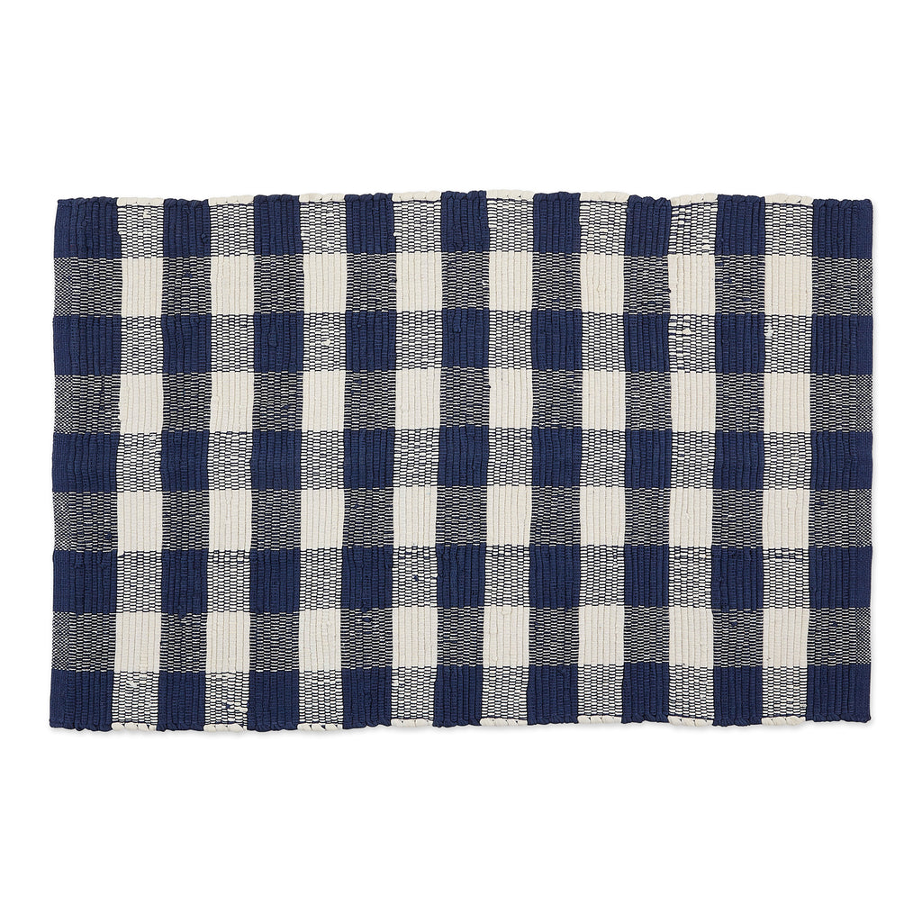 Navy & Cream Buffalo Check Rag Rug 26x40 Cm