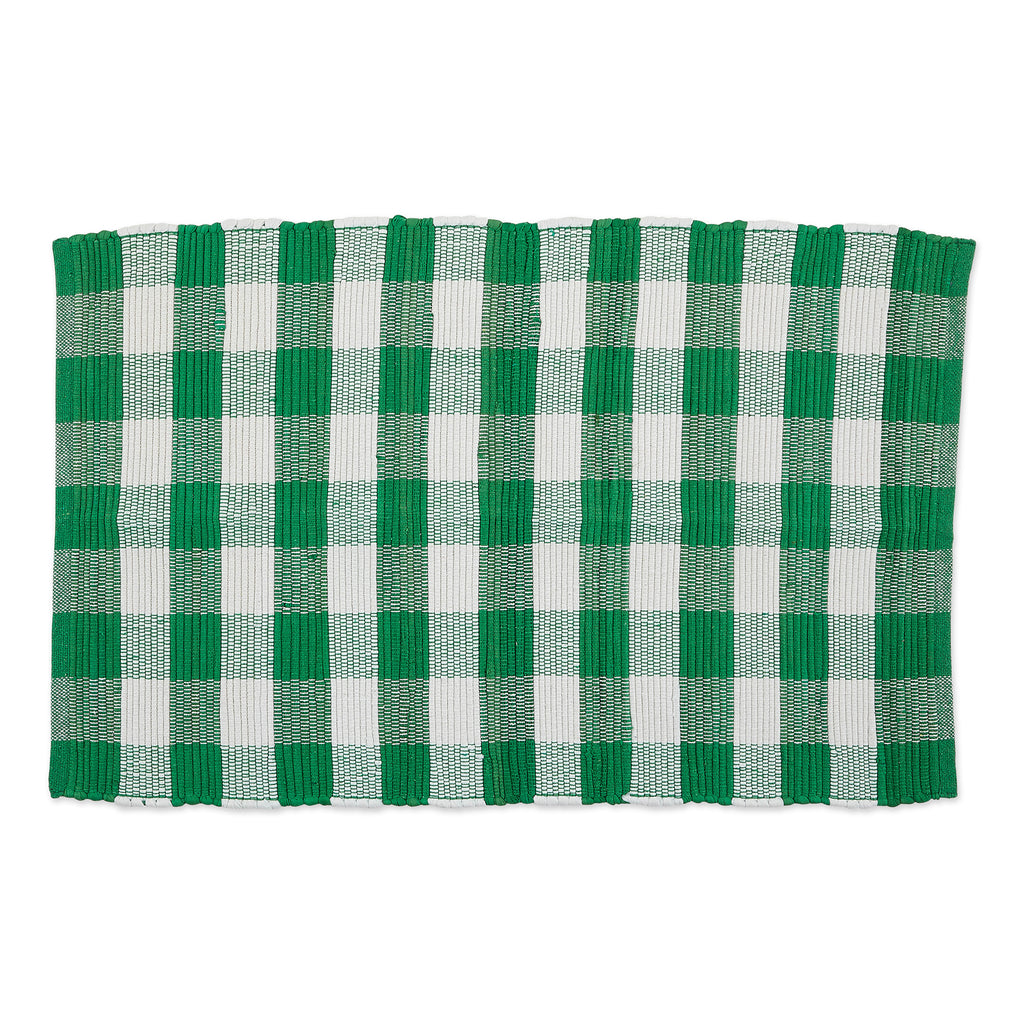 Shamrock Green & White Buffalo Check Rag Rug 26x40 Cm