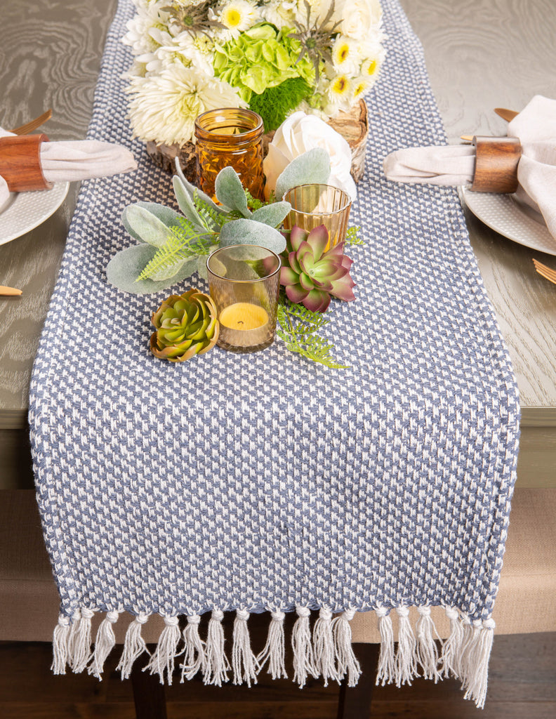 DII French Blue Woven Table Runner, 15x72""