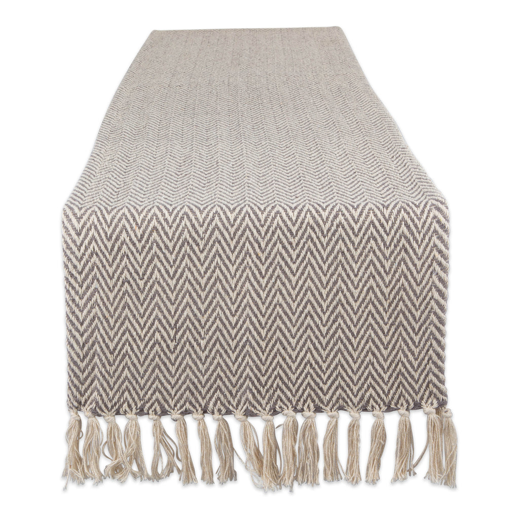 Gray Chevron Handloom Table Runner 15x72
