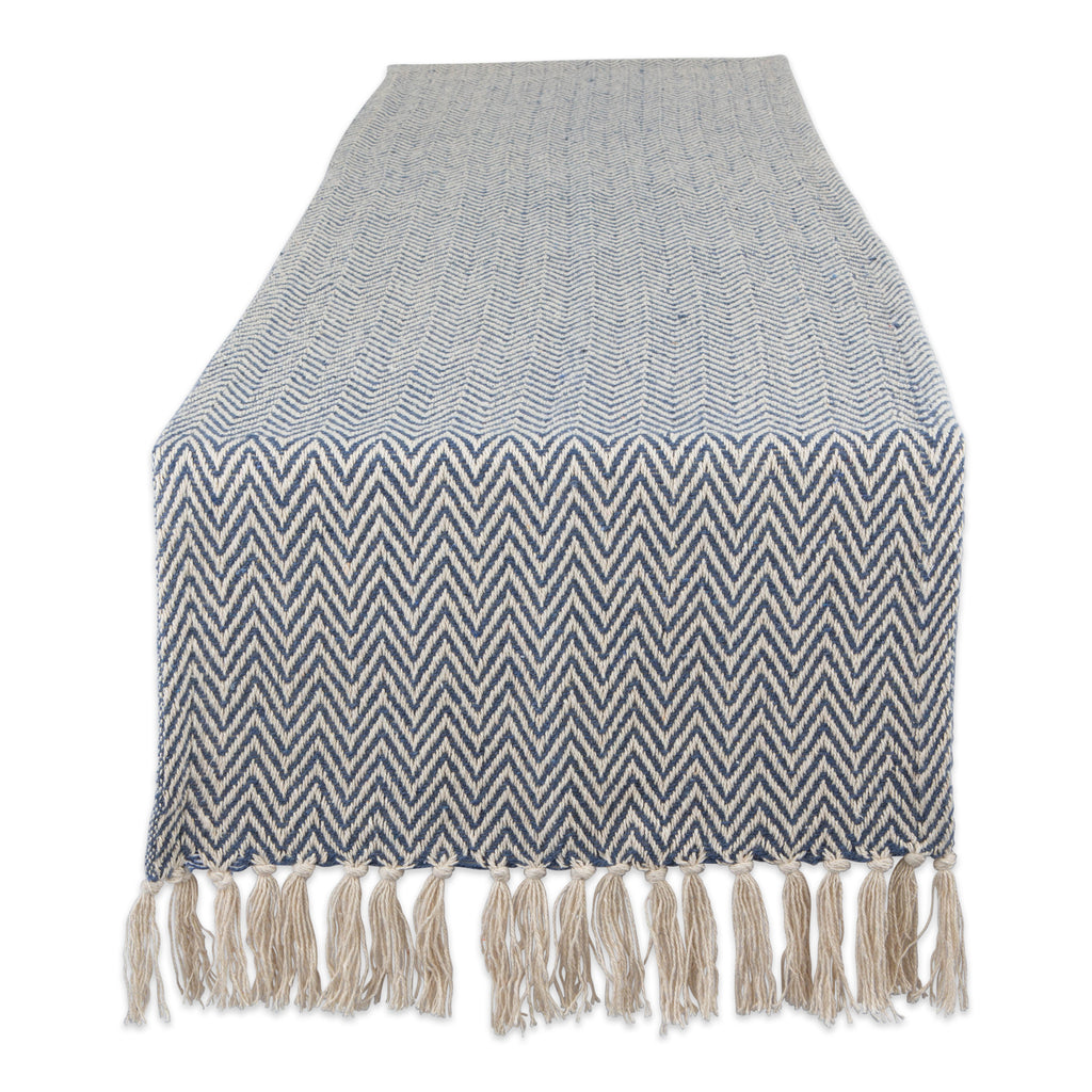 French Blue Chevron Handloom Table Runner 15x72