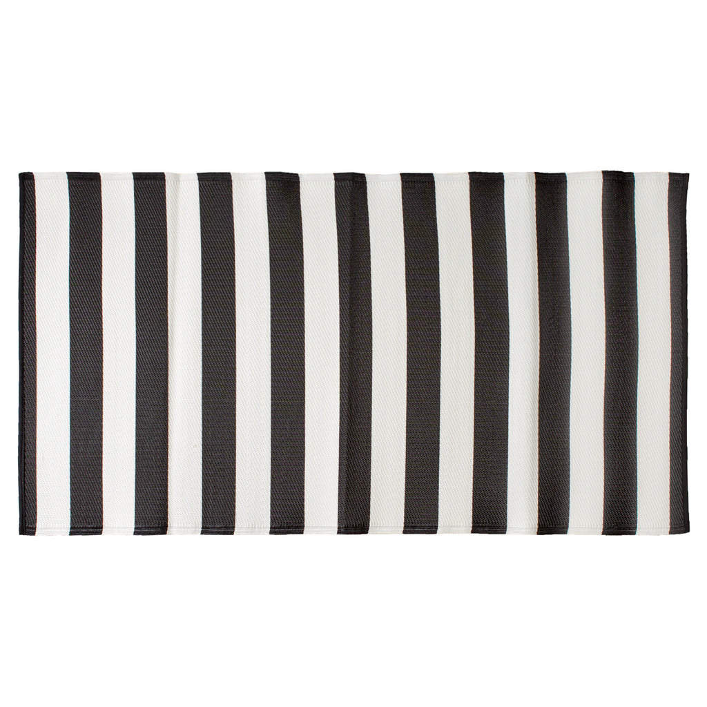 Black/White Stripe Outdoor Floor Runner 3x6 Ft