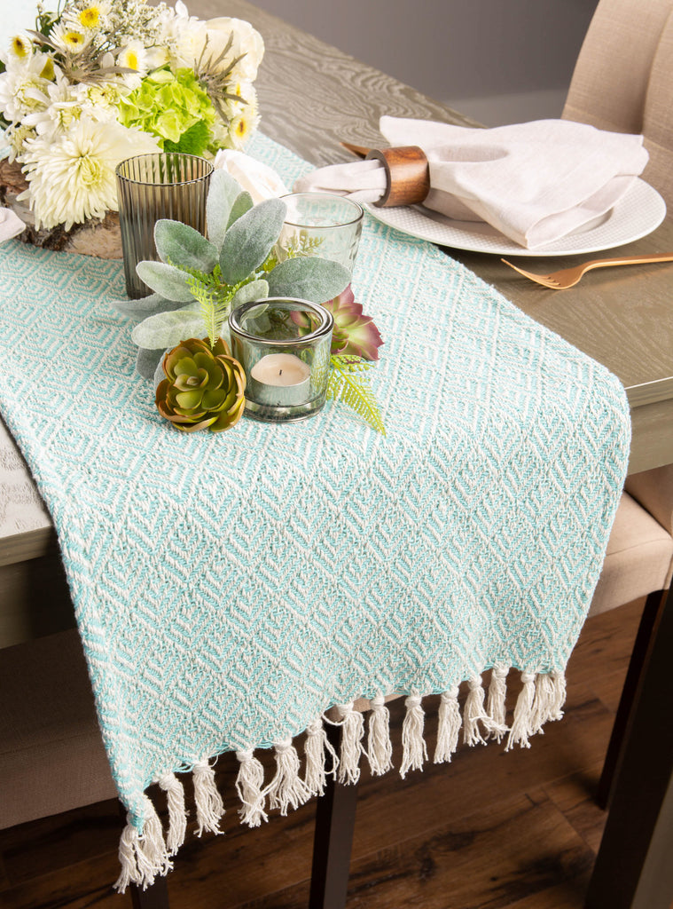 DII Aqua Diamond Table Runner, 15x72""