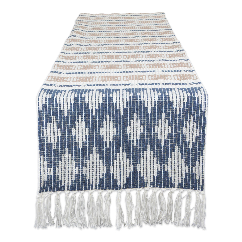French Blue/Stone Colby Southwest Table Runner 15x72