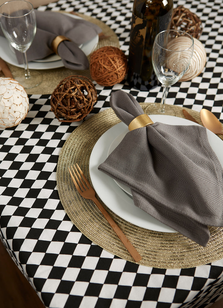 DII Black And Cream Harlequin Print Tablecloth