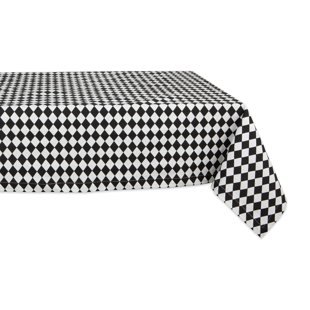 Black And Cream Harlequin Print Tablecloth 52x52
