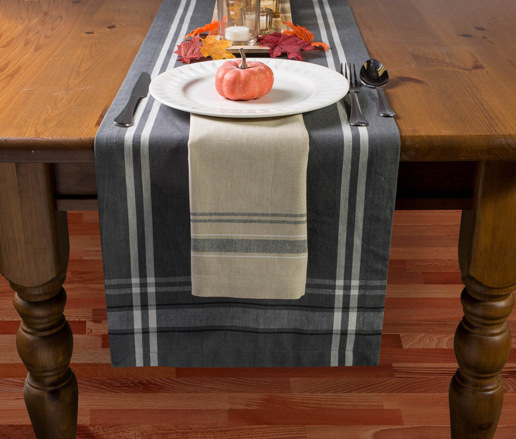 DII Table Set Black French Stripe (Set of 7)