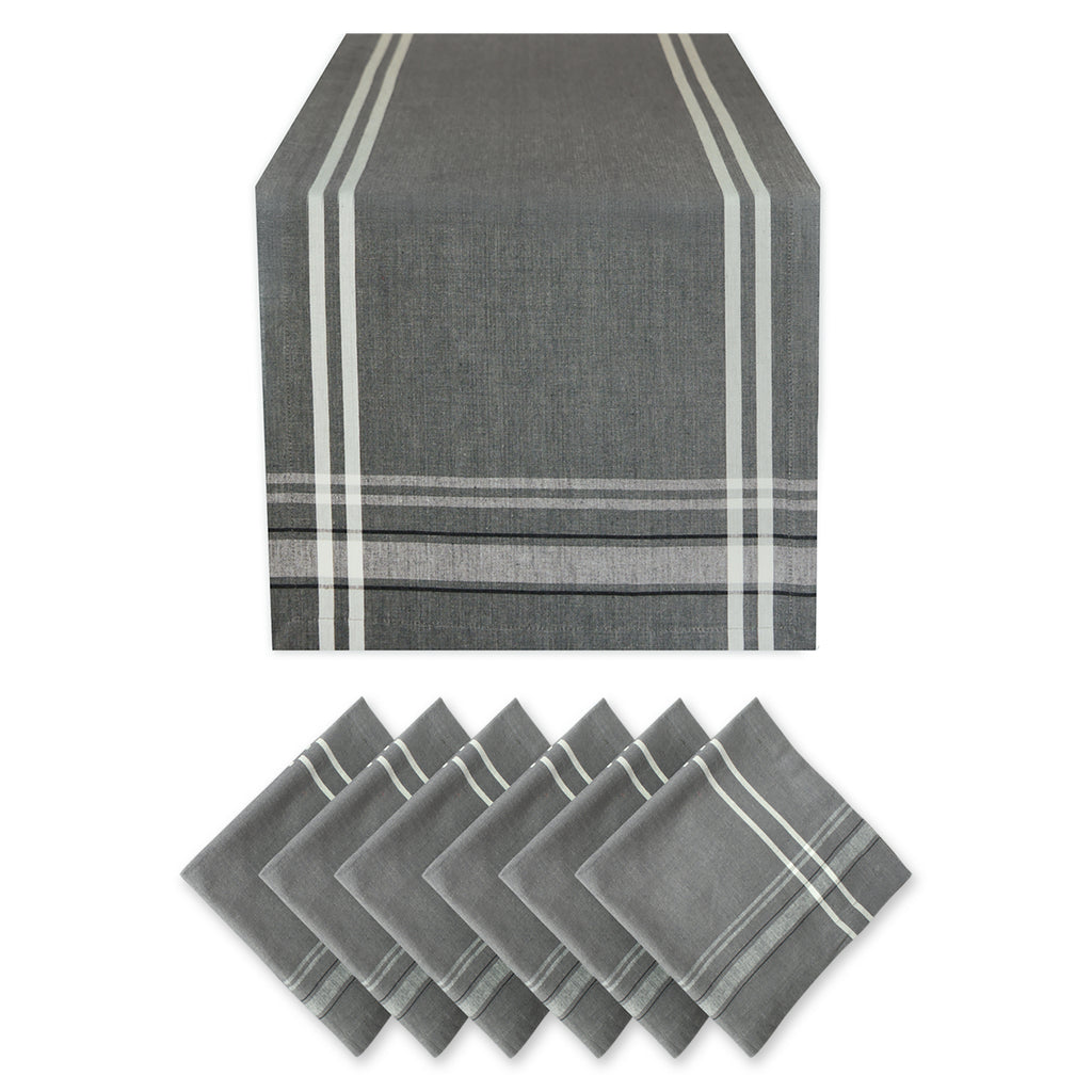 Table Set Gray French Stripe Chambray S/7