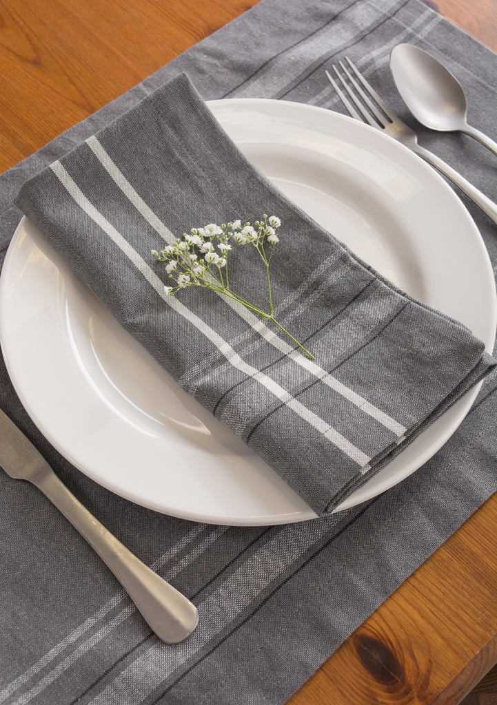 DII Table Set Gray French Stripe Chambray (Set of 7)