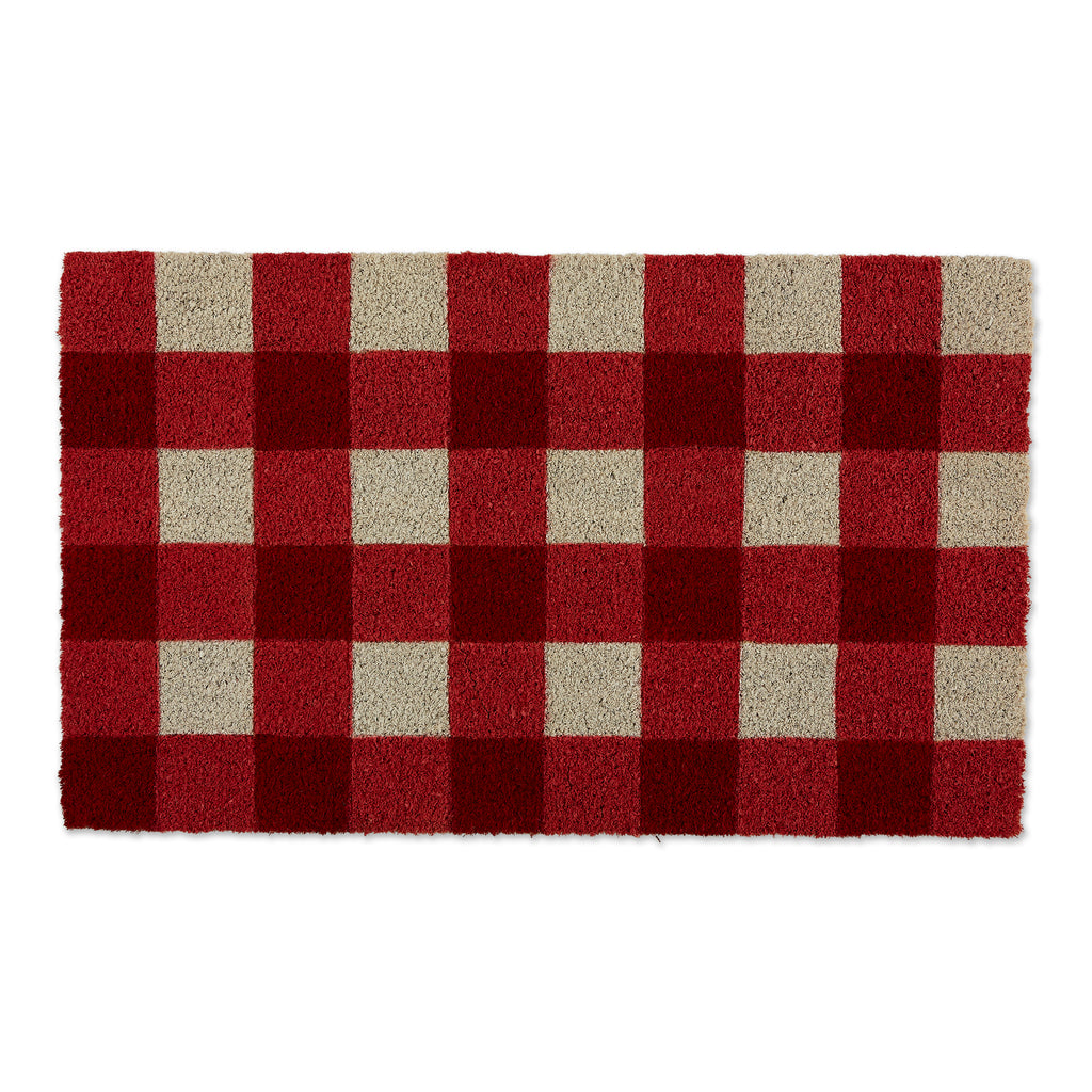Red & White Buffalo Check  Doormat