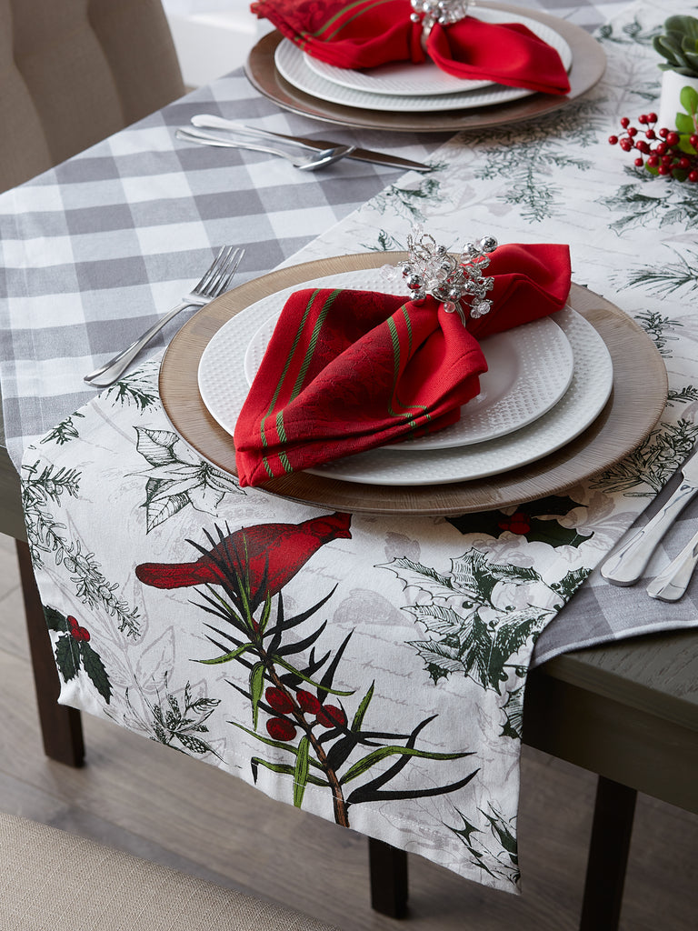 DII Holiday Botanical Printed Table Runner 72