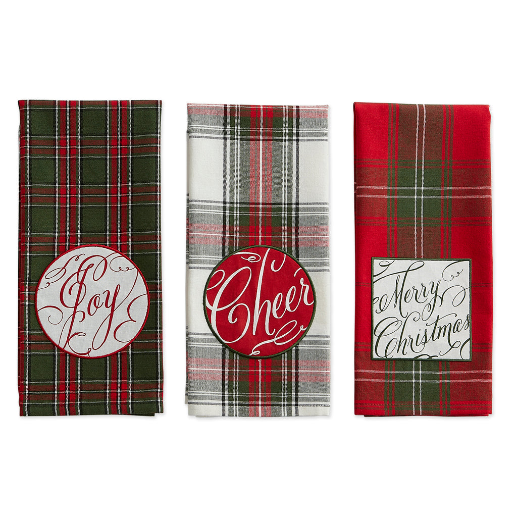 DII Joyful Wishes Embellished Dishtowel (Set of 3)