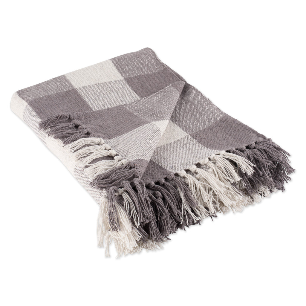 Gray & White Buffalo Check Throw