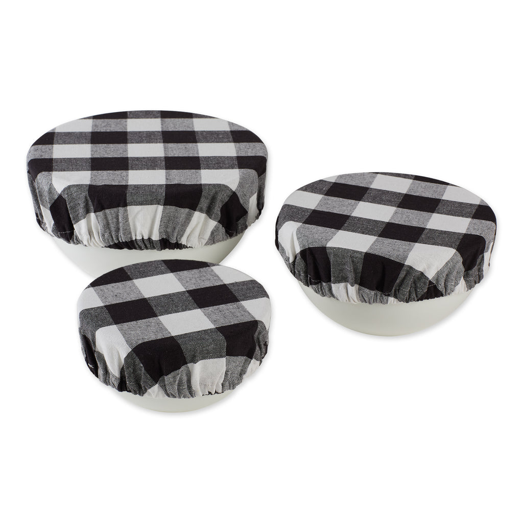 Assorted Black Buffalo Check Woven Dish Cover (Set of 3)