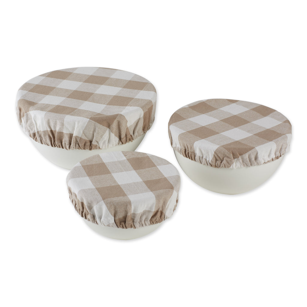 Assorted Stone Buffalo Check Woven Dish Cover (Set of 3)