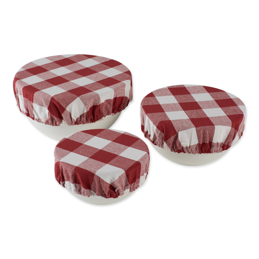 Assorted Barn Red Buffalo Check Woven Dish Cover (Set of 3)