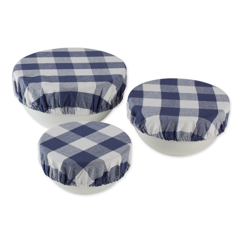 Assorted French Blue Buffalo Check Woven Dish Cover (Set of 3)