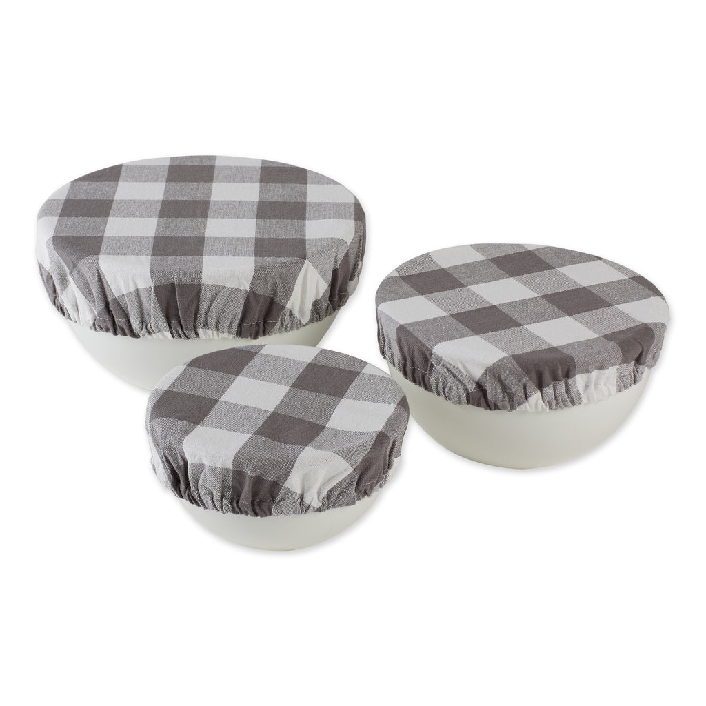 Assorted Gray Buffalo Check Woven Dish Cover (Set of 3)