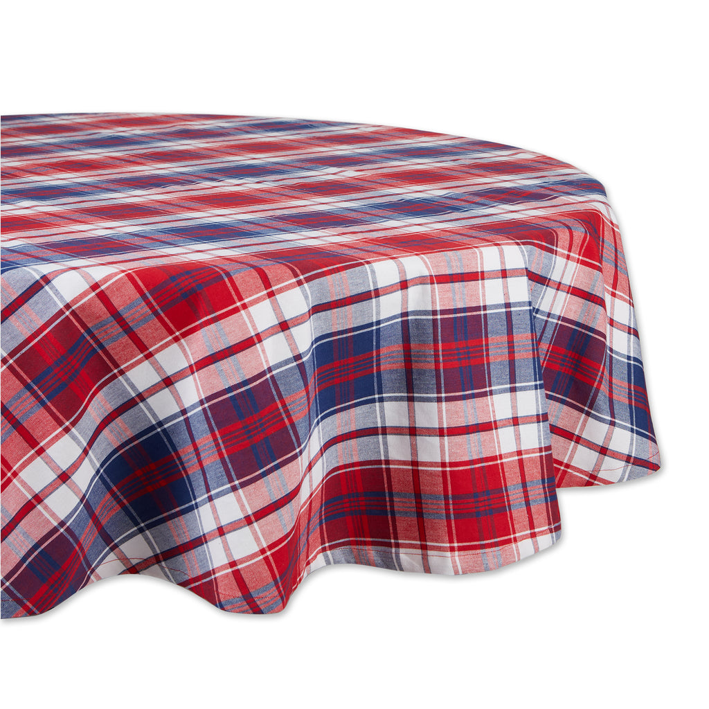 Americana Plaid Tablecloth 70 Round