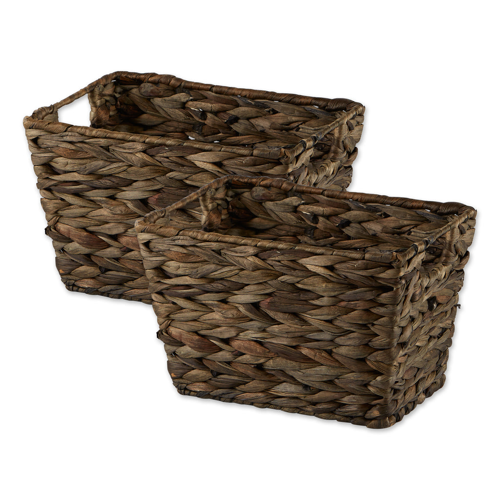 Medium Gray Wash Hyacinth Basket (Set Of 2)