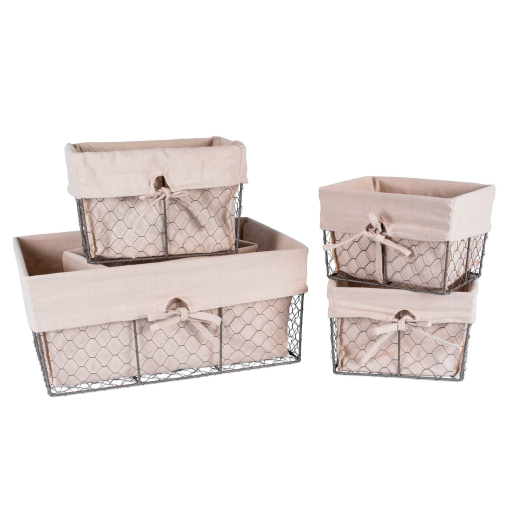 Asst Rustic Bronze Chicken Wire Natural Liner Basket Set/5