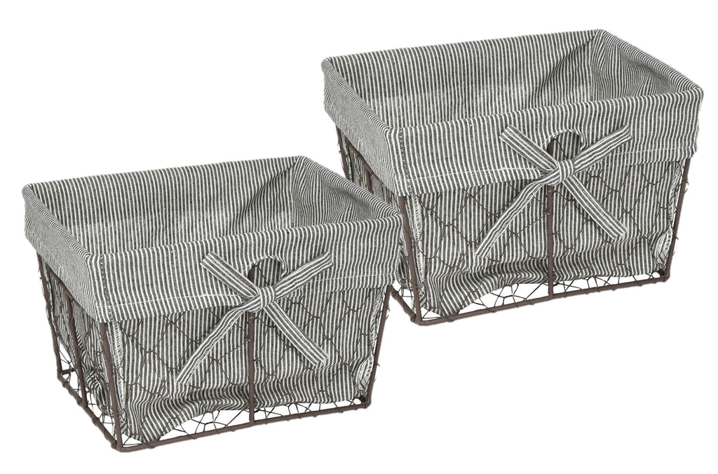 Chicken Wire Med Basket Set/2 Ticking