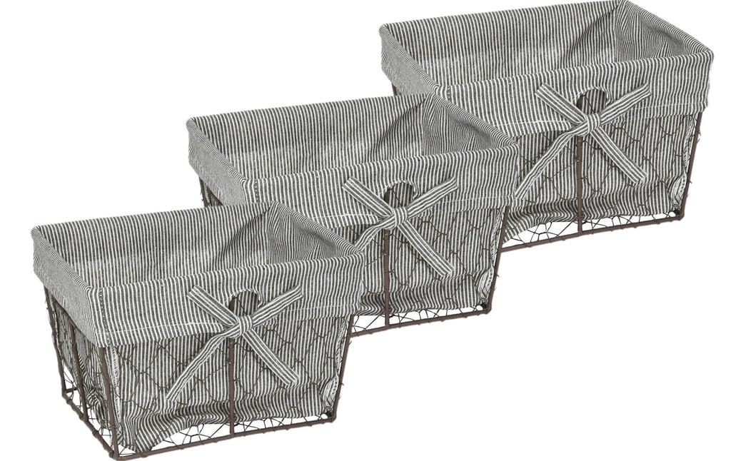 Small Vintage Grey Chicken Wire Black White Ticking Stripe Liner Set/3
