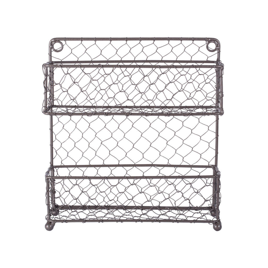 Vintage Grey 2 Tier Chicken Wire Spice Rack