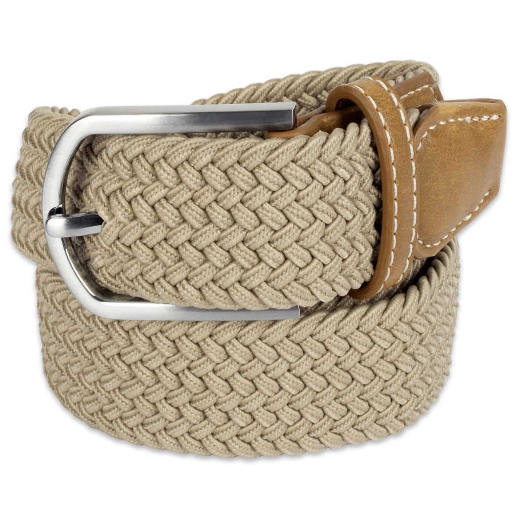 Mens Braided Elastic Woven Belt Khaki Xxl