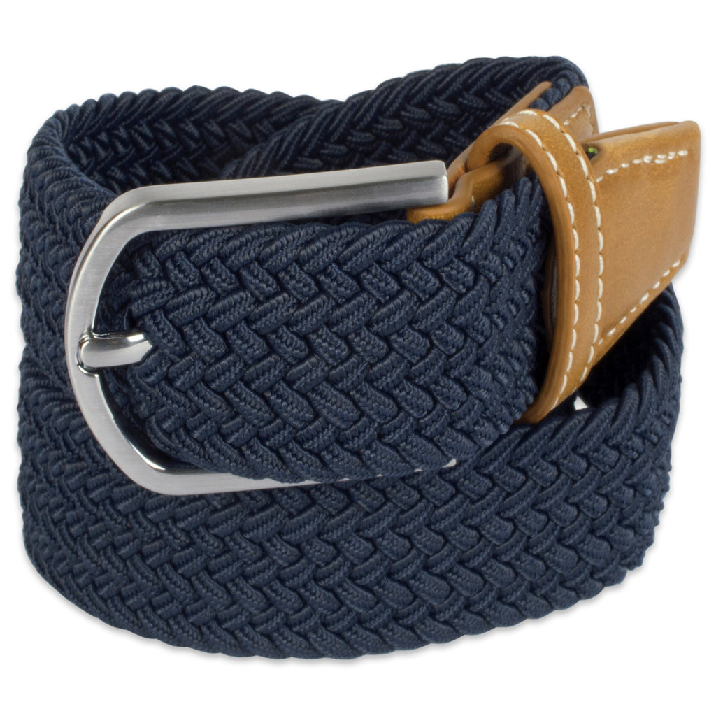 Mens Braided Elastic Woven Belt Navy Xl