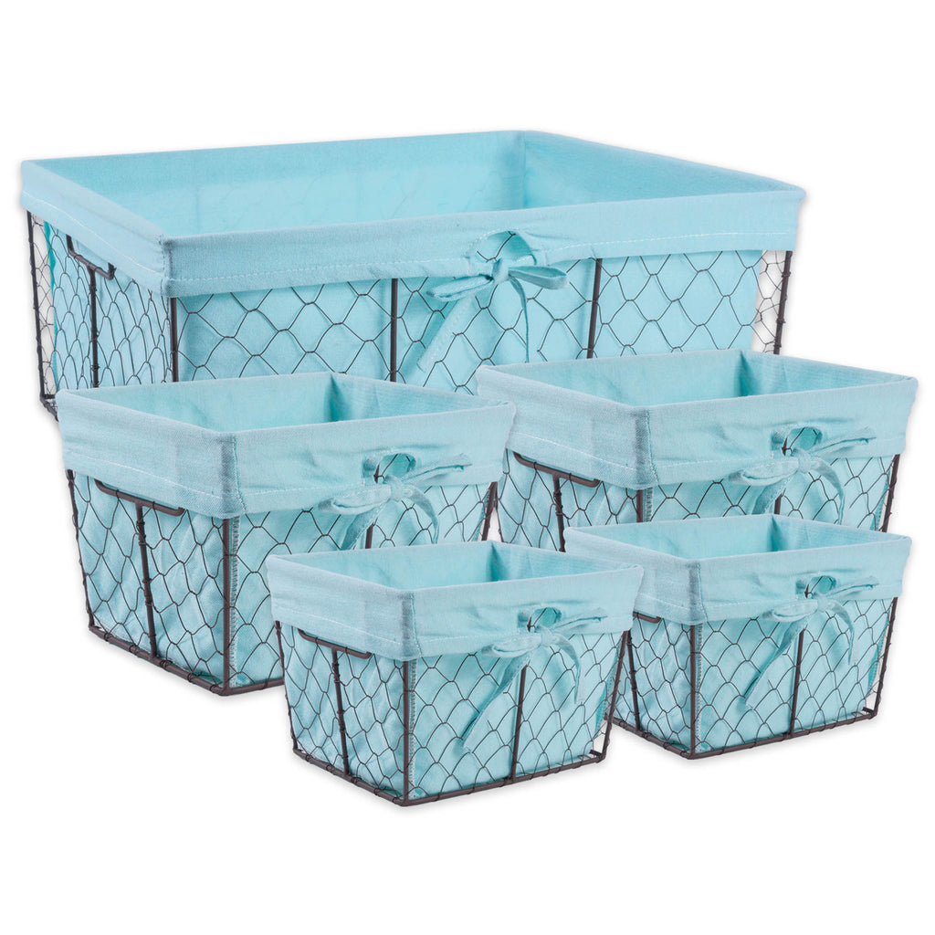 Asst Rustic Bronze Chicken Wire Aqua Liner Basket Set/5