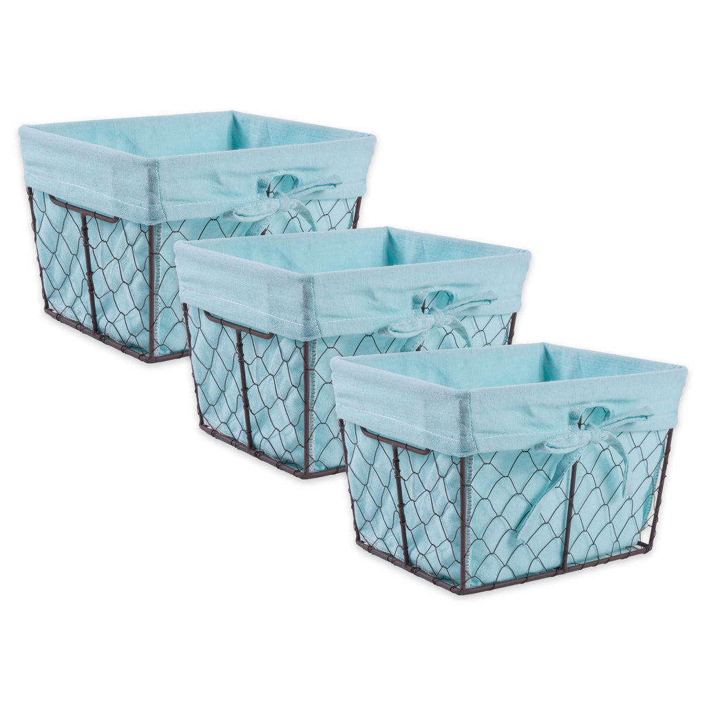 Small Rustic Bronze Chicken Wire Aqua Liner Basket Set/3