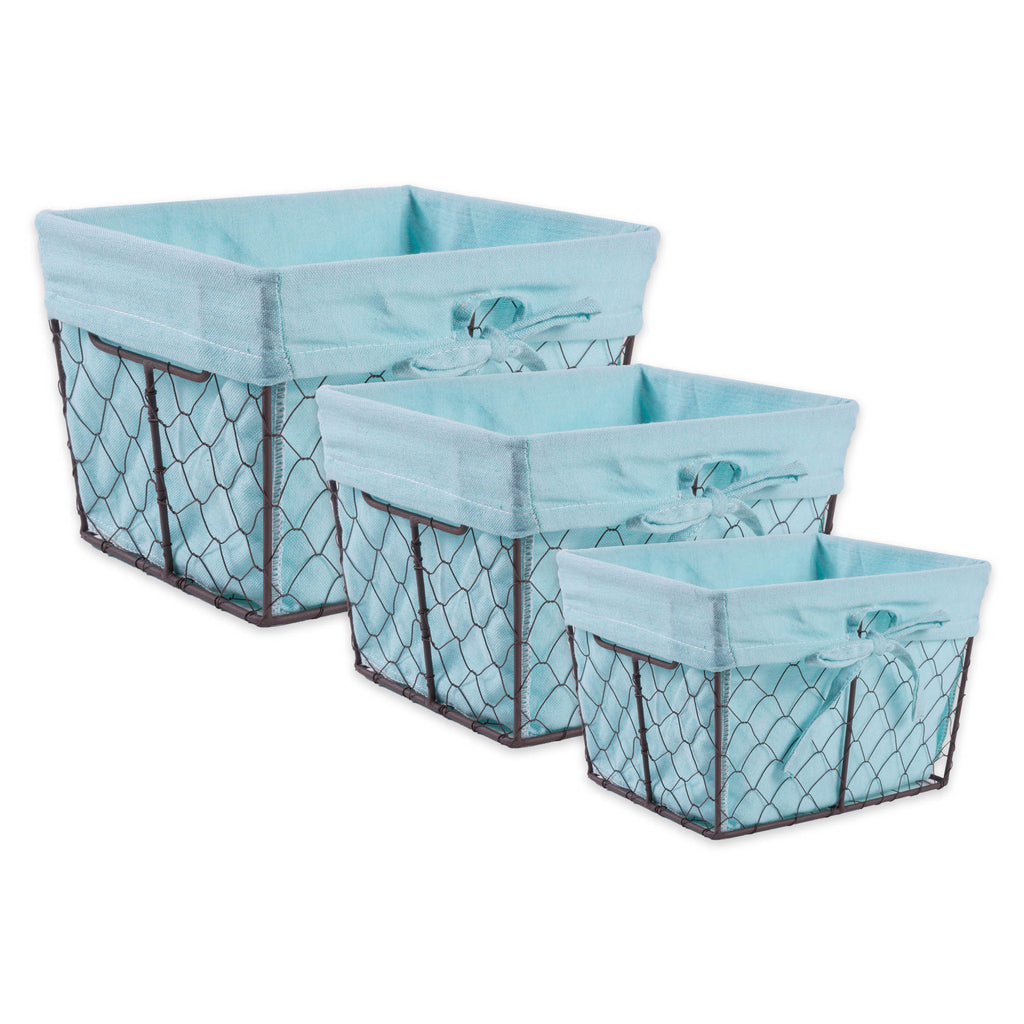 Asst Rustic Bronze Chicken Wire Aqua Liner Basket Set/3
