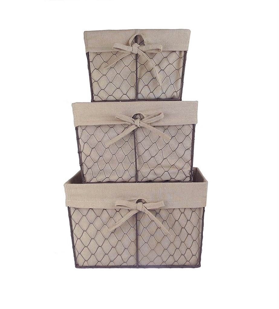 Asst Rustic Bronze Chicken Wire Natural Liner Basket Set/3