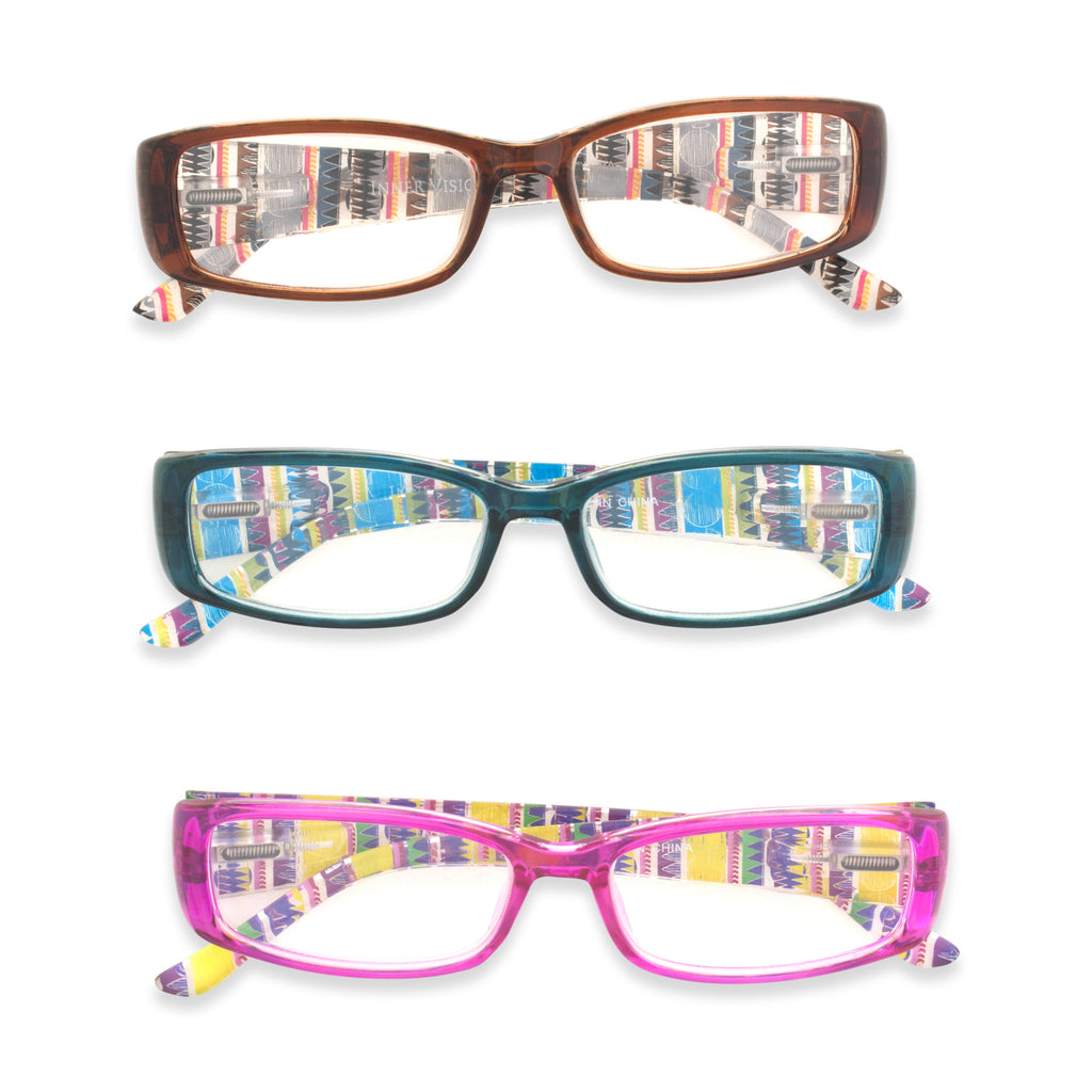 3 Pc Ladies Printed Reading Glasses Set 2.5