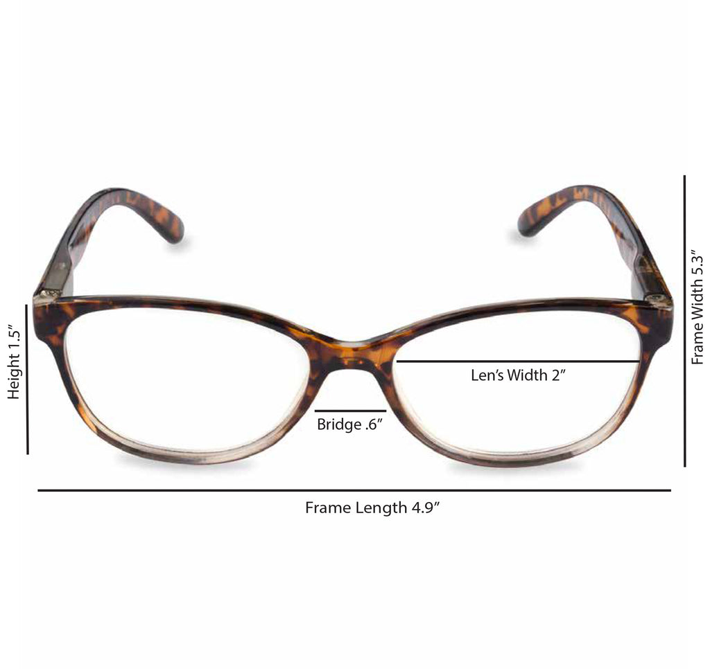 DII Womens Tortoise Reading Glasses Brown 1.0