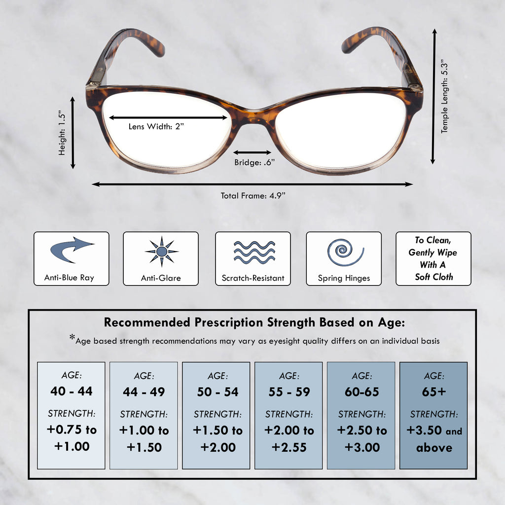 DII Womens Tortoise Reading Glasses Brown 3.5