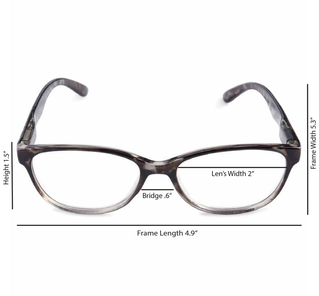 DII Womens Tortoise Reading Glasses Grey 2.0
