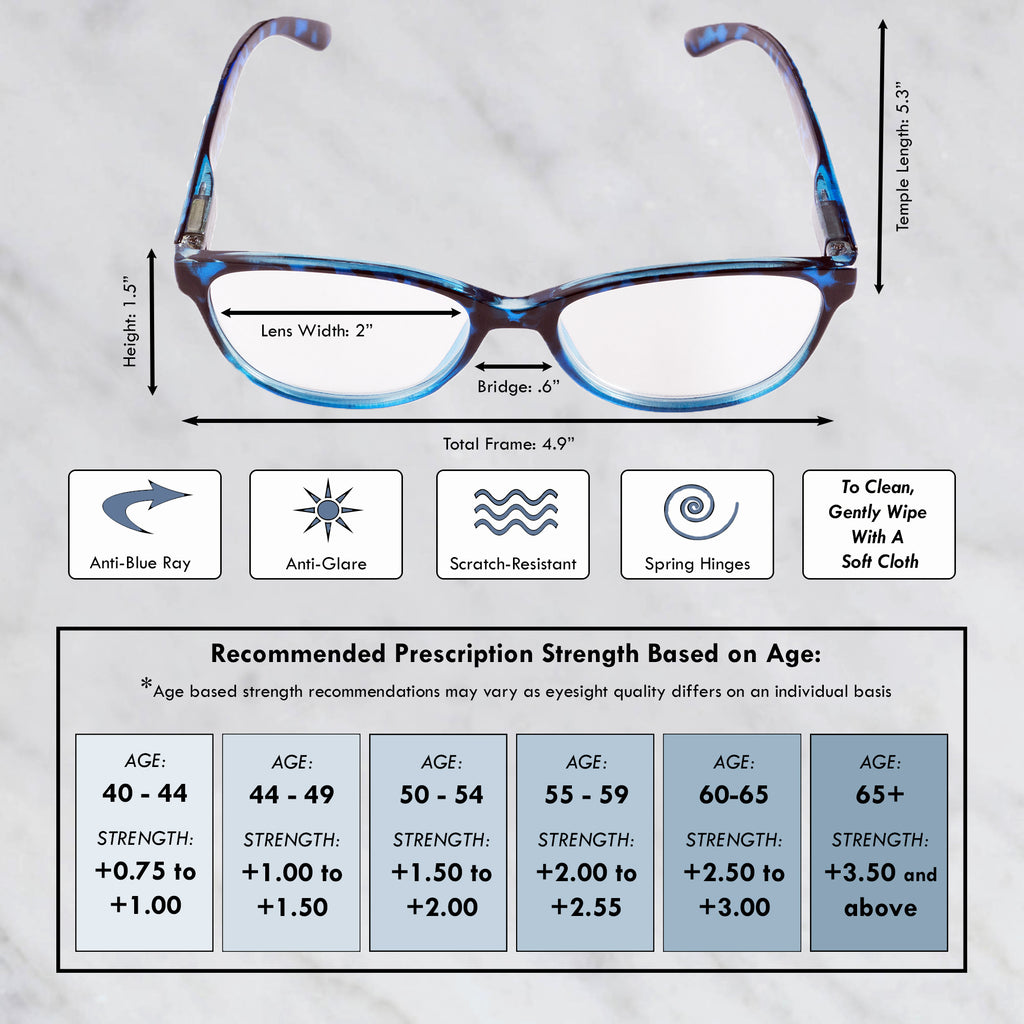 DII Womens Tortoise Reading Glasses Blue 1.0