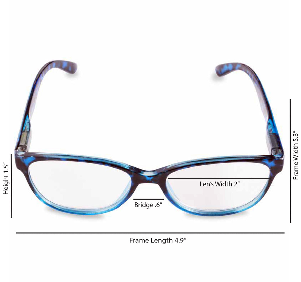 DII Womens Tortoise Reading Glasses Blue 3.0