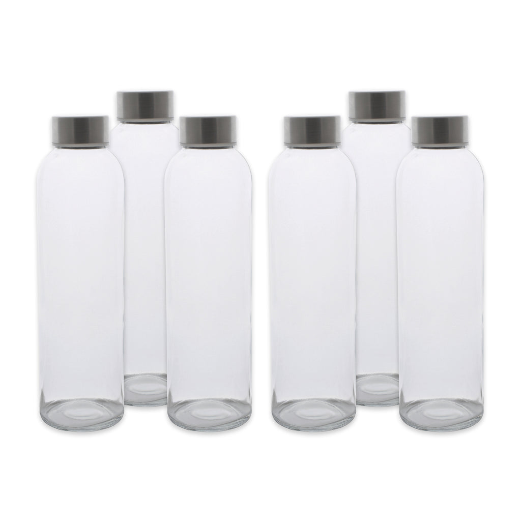 Set/6 18 Oz Glass Bottles With Stainless Lids