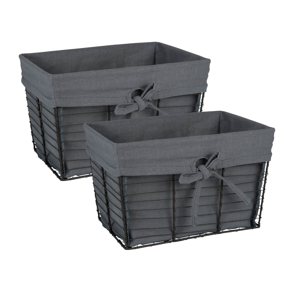 Medium Vintage Grey Wire Grey Liner Basket Set/2