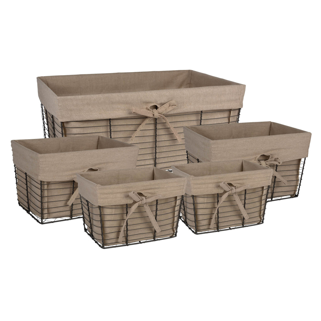 Asst Vintage Grey Wire Taupe Liner Basket Set/5