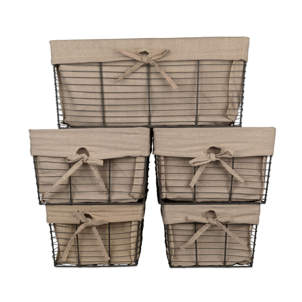 DII Vintage Grey Wire Basket(Set of 5) Desert Taupe Liner