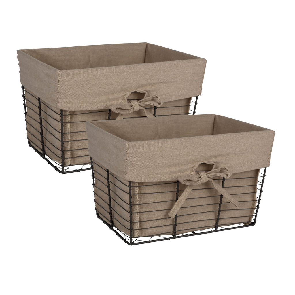 Medium Vintage Grey Wire Taupe Liner Basket Set/2