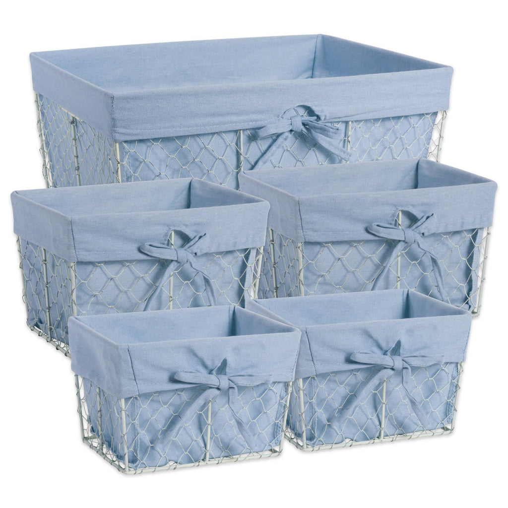 Asst Antique White Chicken Wire Denim Liner Basket Set/5